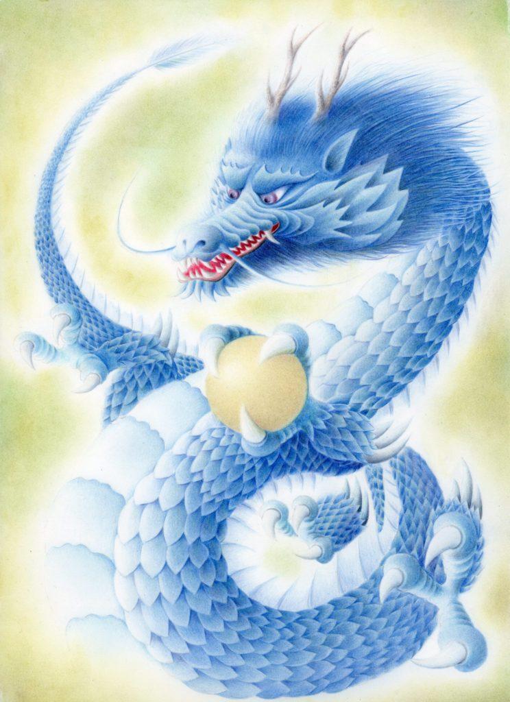 色鉛筆で描いた青い龍の絵