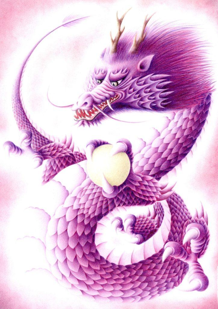 色鉛筆で描いた紫色の龍の絵その2