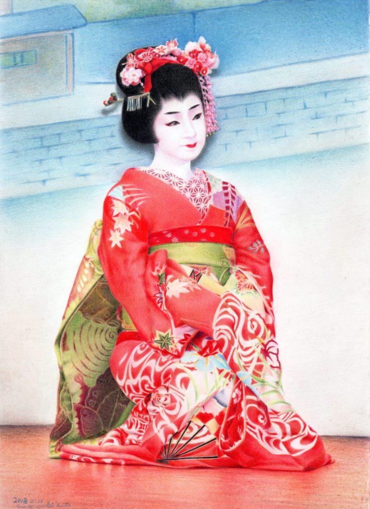 色鉛筆で描いた日本舞踊の絵