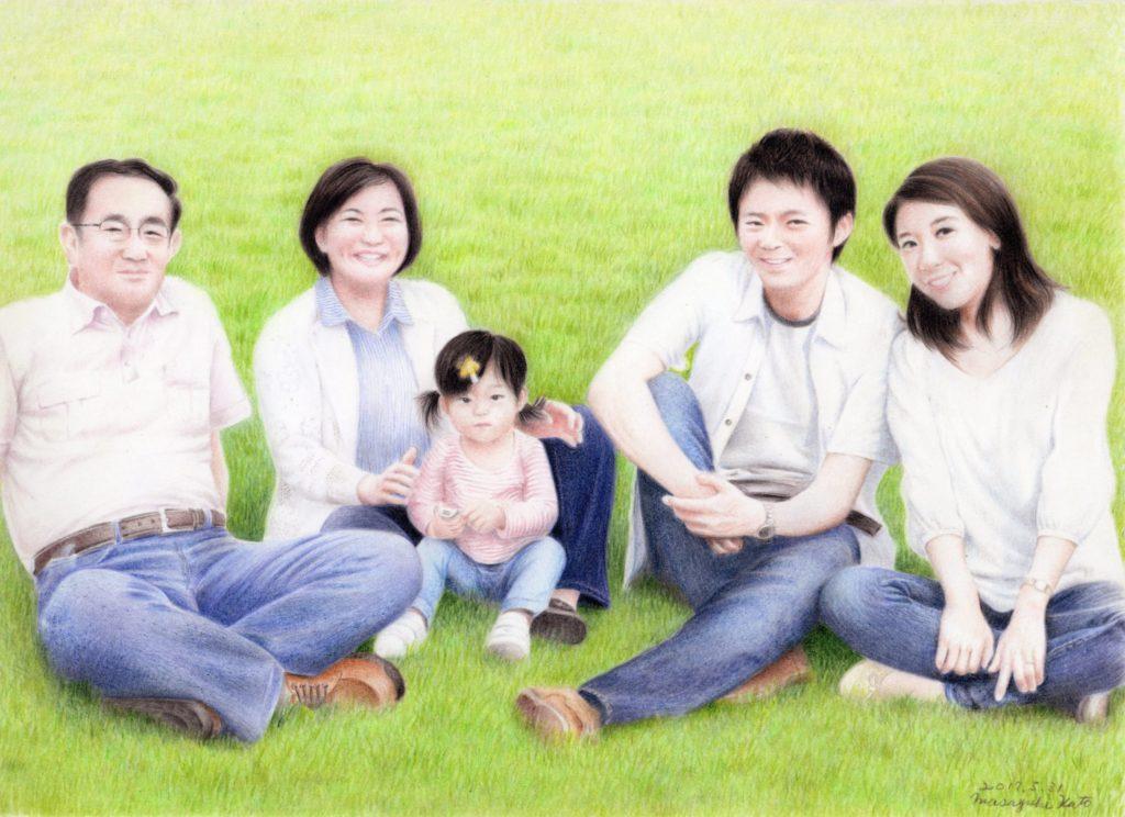 色鉛筆で描いた家族の絵その3