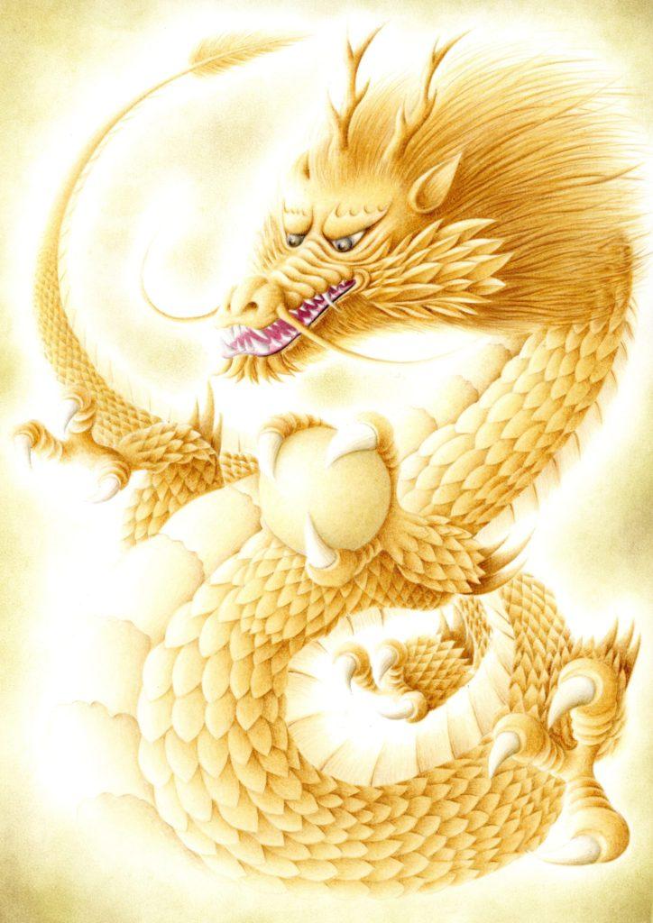 色鉛筆で描いた黄金の龍の絵
