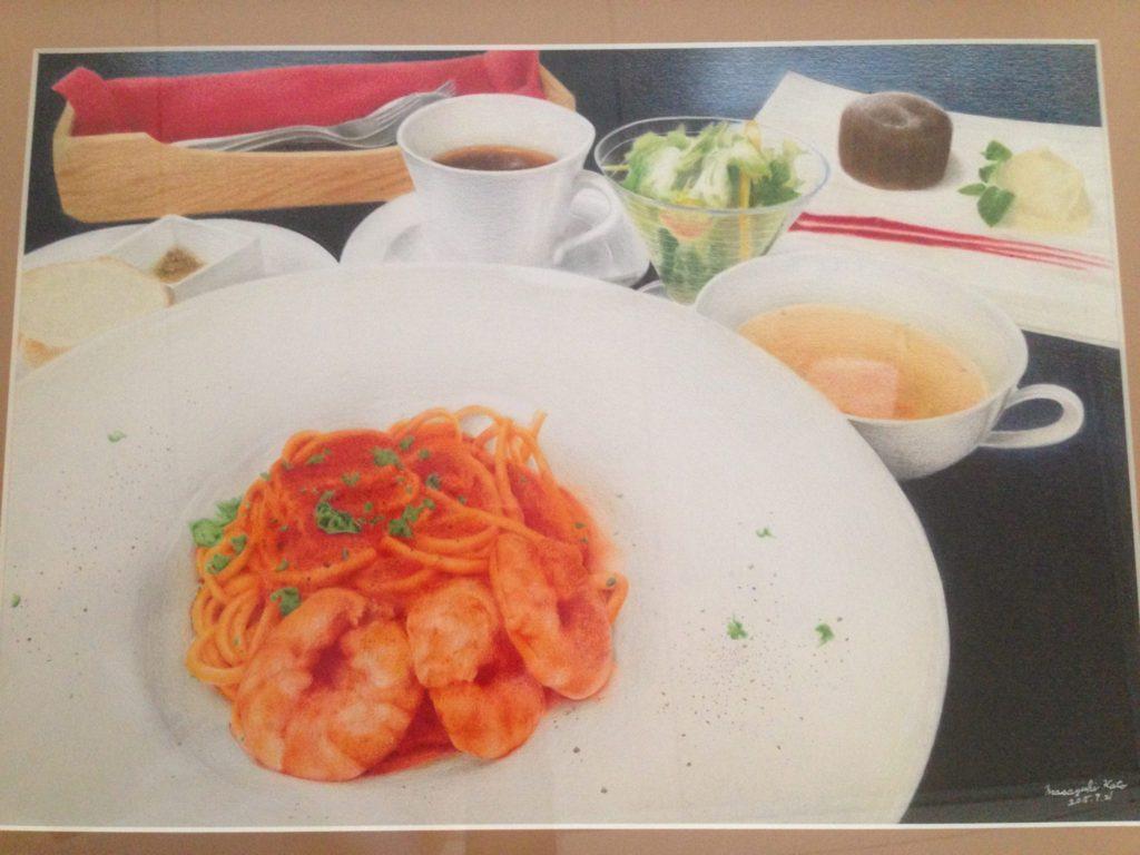 色鉛筆で描いたスパゲティの絵