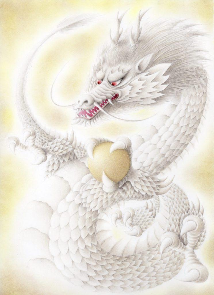 色鉛筆で描いた白い龍の絵その2